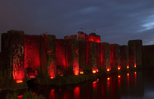 Caerphilly Castle in Red 2016