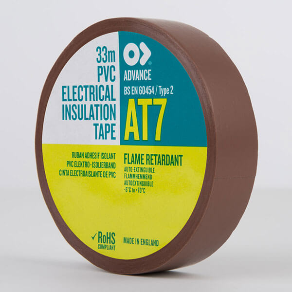 Advance AT7 PVC Electrical Insulation Tape 19mm Brown