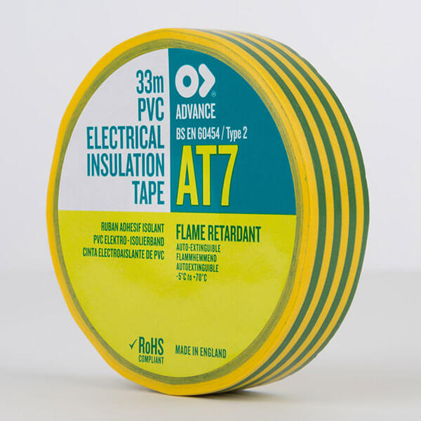 Advance AT7 PVC Electrical Insulation Tape 19mm Earth