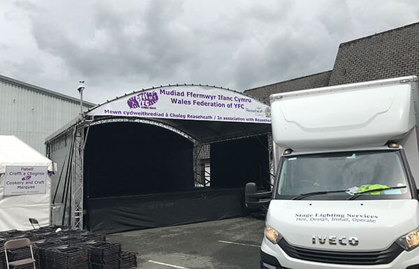 MR1 canopy Stage Builth Wells Showground