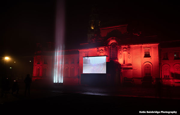 WeMakeEvents Beams of light Cardiff City hall Katie Bainbridge Photography